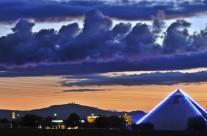 Blick auf die Spielpyramide im Gothaer Gewerbegebiet Süd